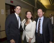 Jones Lang LaSalle managing director Jason Goff, PG&E senior manager Becky Johnson and Alleghany Properties president David Bugatto pose at the Sacramento Business Review.