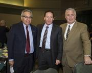 Sacramento State vice president for public affairs and advocacy Phil Garcia, Alleghany Properties president David Bugatto and Sacramento Metro Chamber senior vice president Phil MacDougall pose at the Sacramento Business Review.