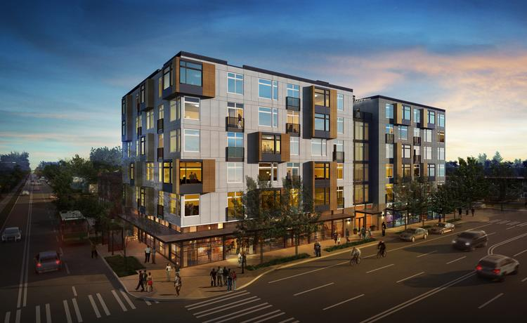 A six-story apartment project with retail at the base is planned for a long-vacant corner at 23rd Avenue and East Union Street in Seattle's Central District. The lot sold Tuesday for $3.8 million, and the new owners hope to start building the project, shown here, this spring.