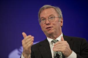 Eric Schmidt, seen here last October at the Bloomberg Year Ahead: 2014 conference in Chicago, is taking part in the World Economic Forum in Davos, Switzerland.