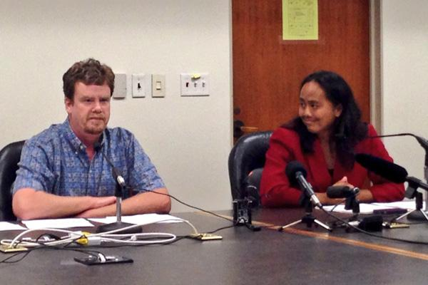 Hawaii Reps. Angus McKelvey and Della Au Belatti discuss a package of health care bills introduced on Thursday, including one that would bring the Hawaii Health Connector under state control.