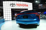 The Toyota FCV Concept car on display runs on hydrogen fuel cells.