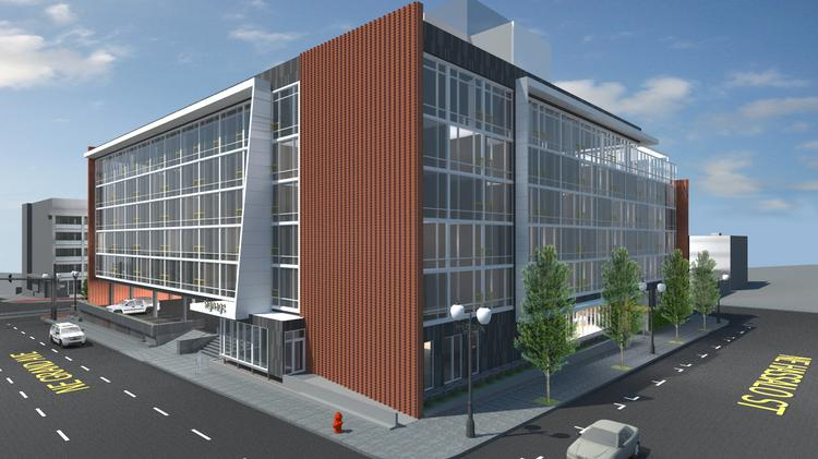 Seattle-based Grand Ventures Hotel LLC has submitted plans to remake the Red Lion at the Oregon Convention Center to the Portland Design Commission.