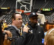 Coach Gregg Marshall and team member Cleanthony Early address the crowd at a welcome-home rally.