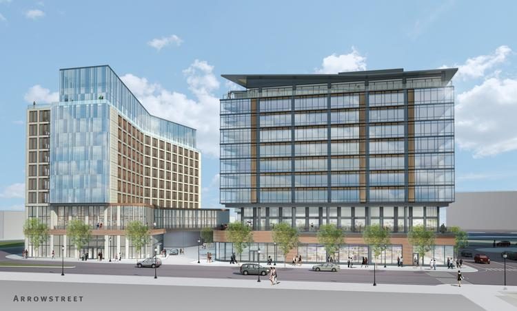 An artist rendering of the proposed hotel and apartments for Parcel K in Seaport.