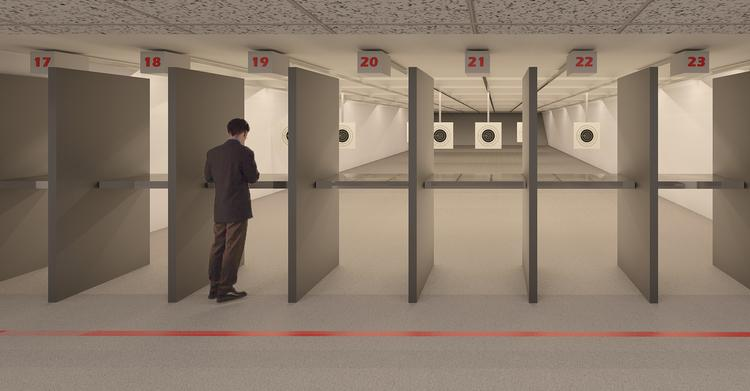 A view of plans for the interior shooting range at Thunderbird Tactical Regional Shooting Complex at 28th and Greenwich.
