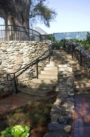 The stone walls and staircase are the original.