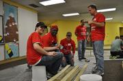 At the Monumental Sports & Entertainment Foundation MLK Day of Service on Jan. 20, Washington Bullets alumnus Bob Dandridge, second from left, joined 50 Capitals, Mystics and Wizards fan volunteers to paint murals, assemble benches and more.