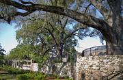 The stone wall and oak trees are from the original design.