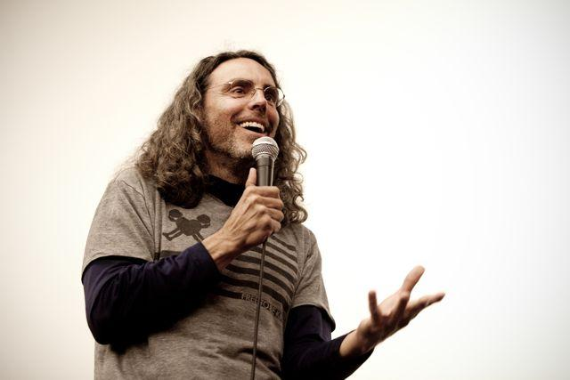 "Tom Shadyac speaks at the Virginia Film Festival screening of his documentary ""I Am"" in 2010."