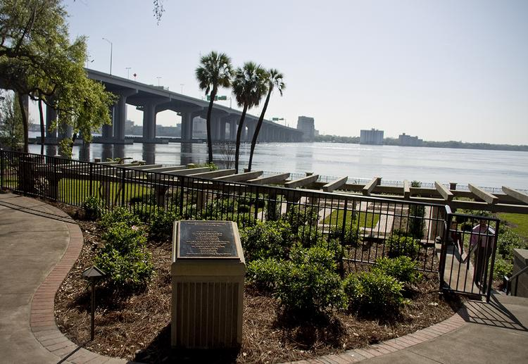 The Olmsted Garden overlooks the St. Johns River, as well as the Southbank of Downtown Jacksonville.