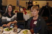 Cathi Christina and Mary Smith of Haldex Brake Products pose for a photo during the 2014 Healthiest Employers luncheon.