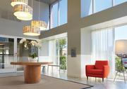 Bridgwater features a variety of amenities such as this lobby for residents, a yoga studio, club room and pool.