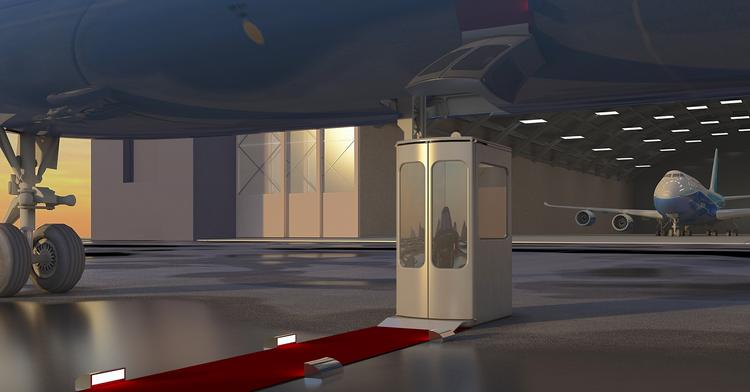 From the ground, users of the Aerolift can ride up to the main deck of the 747-8.