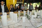 Displays and models show details of the planned 60-acre Ward Village project in the information gallery.