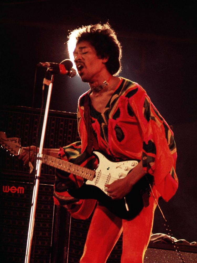 Jimi Hendrix Performs During The Isle Of Wight Rock Festival In 1970