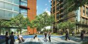 The public plaza planned for 1000 N. Glebe Road, a project co-developed by Marymount University and the Shooshan Co.