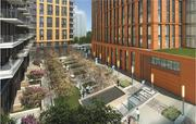 A highlight of the project will be this 10,600-square-foot publicly accessible plaza between the apartment and office buildings.