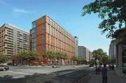 A wide view of the two buildings, one office one one residential, planned for 1000 N. Glebe Road. Marymount University will occupy the office building as its Ballston campus.