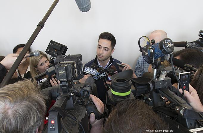 Braun met with the media at the Milwaukee Brewers On Deck event.