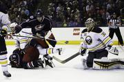The Buffalo Sabres smothered the Columbus Blue Jackets on Saturday, ending the team's eight-game winning streak.