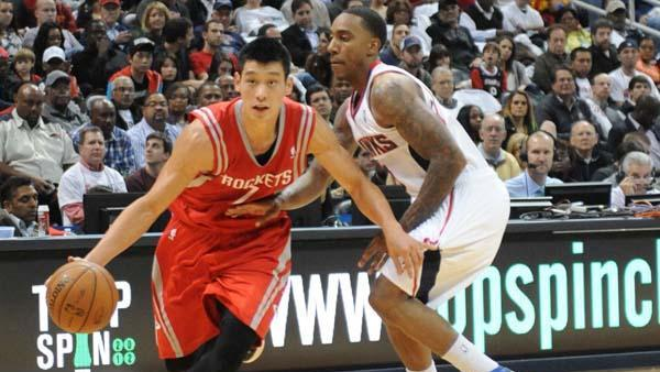 Houston Rocket Jeremy Lin on the break during a November 2012 game against the Atlanta Hawks. The Rockets are the sixth-most valuable team in the NBA.