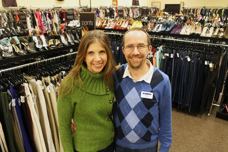 Kim Vassiliadis and Chris Tovell own the Clothes Mentor upscale-resale fashion store in Chapel Hill.