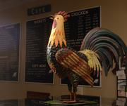 One of many chickens that decorate The Coop Restaurant.