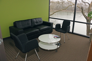 The OTRADI bioscience incubator includes a communal break area where tenants can visit and share ideas.