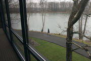 The Willamette River flows just beyond the windows of the OTRADI bioscience incubator in Southwest Portland.