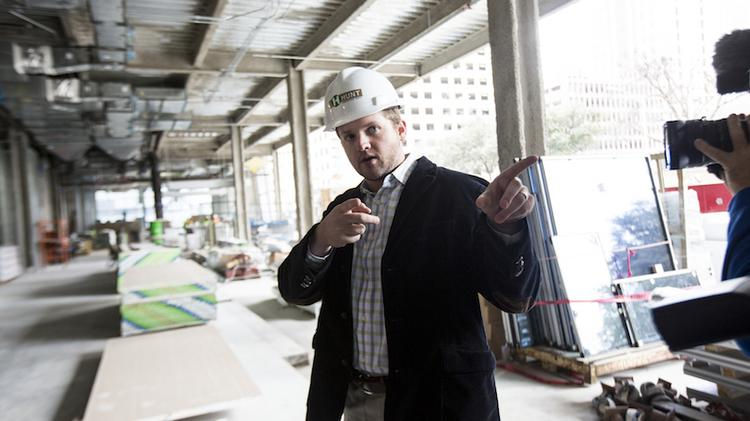 Dustin Louderback is the project manager for the JW Marriott Austin. He's an employee of the development company, White Lodging Development Services.