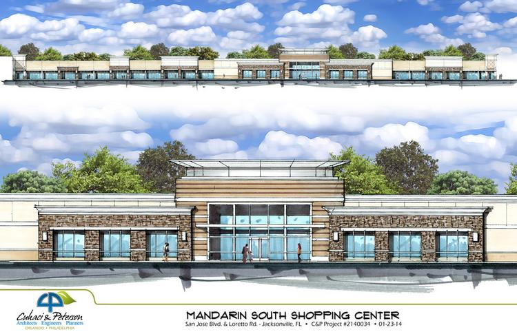 A rendering showing a redeveloped Mandarin South Shopping Center.