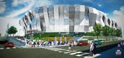 The Sacramento Kings shared renderings of the downtown arena. This is a view of the arena, as seen from the street.