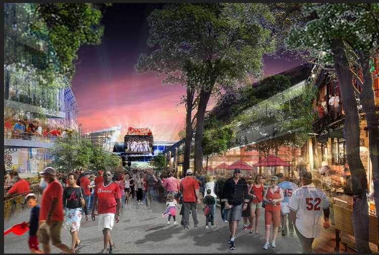 An early rendering of what the new Braves mixed-use development might look like.