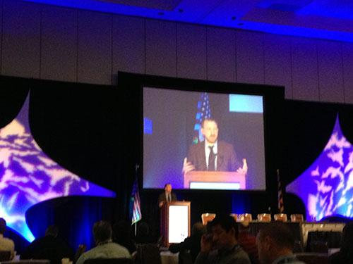 Phil Venables of Goldman Sachs address a crowd of cyber security professionals at a conference in Baltimore on Tuesday.