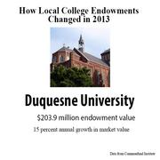 Endowments from local Pittsburgh-region colleges in 2013.