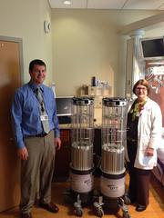 Ryan Holman, left, is the director of Environmental Services, and Linda Jamison is an infection preservationist at West Chester Hospital.