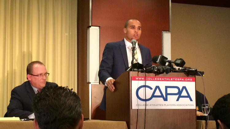 Former Northwestern University quarterback Kain Colter stood at the podium today to announce the formation of the College Athletes Players Association (CAPA).