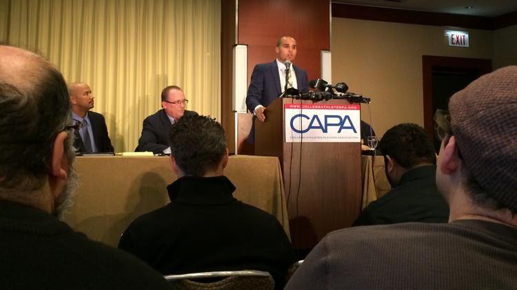 Former Northwestern football quarterback Kain Colter introduced the College Athletes Players Association last January in Chicago.