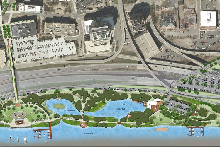 Cleaning two stormwater basins for recreational uses is one of the priorities in a plan to upgrade Corning Preserve Waterfront Park in Albany, NY.