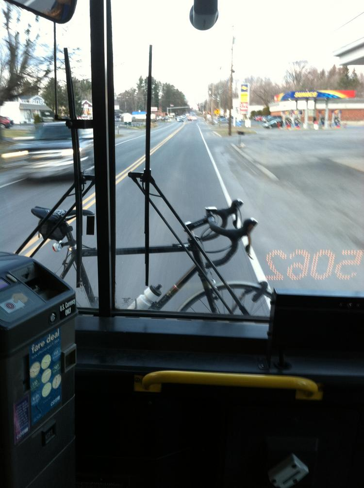 My bike on the front of the CDTA Route 50 bus.
