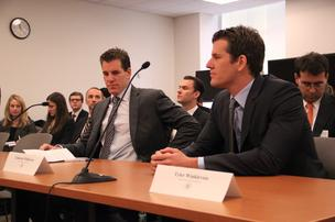 Cameron and Tyler Winklevoss, founders Winklevoss Capital Management, speak on the first day of New York State's