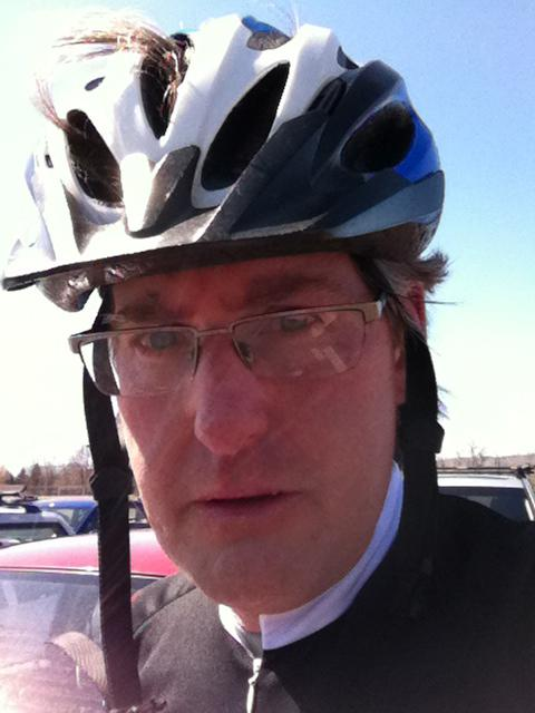 A self-portrait after pedaling my hardest for 24 miles in intense wind and 35-degree temps.