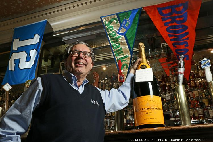 Mick McHugh, owner of F.X. McRory's special ordered a 12 liter bottle of Veuve Clicquot Ponsardin Champagne from France. If the Seahawks win the Super Bowl, the bottle will be opened and shared with customers. McHugh figures he can stretch the 12 liter bottle to serve 200 to 250 customers.