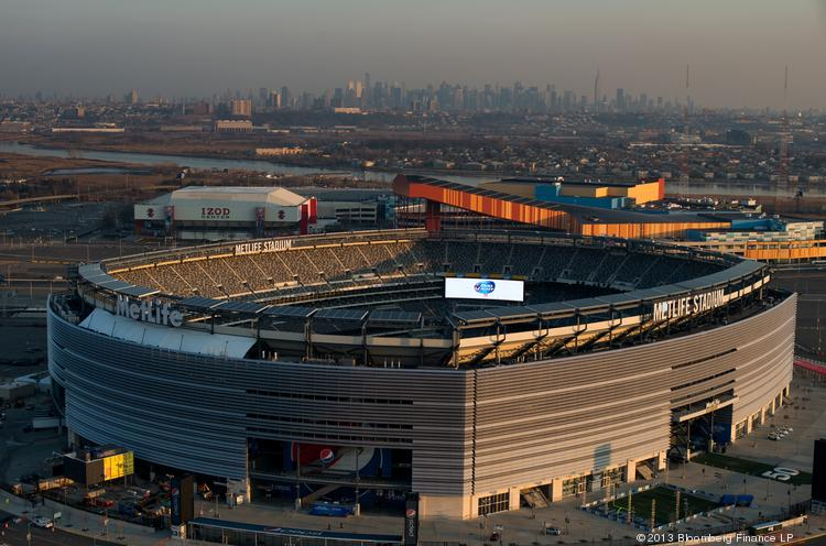 MetLife Stadium stands in this aerial photograph taken in East Rutherford, New Jersey, U.S., on Tuesday, Dec. 3, 2013. The NFL will be blocking streams of Super Bowl XLVIII inside the stadium on Sunday.