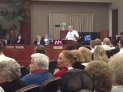 """Residents who favored the project donned """"Bring Trader Joe's to Parkside"""" T-shirts."""