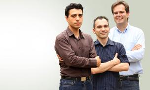 The Feedzai team includes, from left: Former aerospace engineer Nuno Sebastiao, who is chief executive officer, plus two former professors: Pedro Bizarro, chief security officer, and Paulo Marques, chief technology officer.