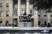 The statues of James Knox Polk, Andrew Jackson and Andrew Johnson at the State Capitol building in downtown Raleigh are covered in snow on the morning of Jan. 29. All three of these former U.S. presidents hailed from North Carolina.