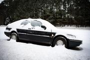 A stranded car along Highway 64 in Apex on the morning of Jan. 29.