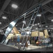 """Nau Inc.'s new trade show """"booth"""" coveys the firms edgy, outdoorsy image."""
